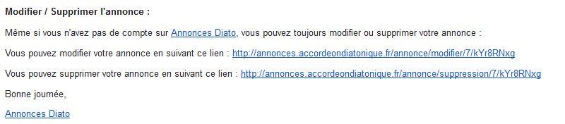 Mail pour gérer votre annonce d'accordéon diatonique sur Annonces Diato.